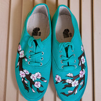 Hand Painted Turquoise Japanese Cherry Blossom Shoes Size 8