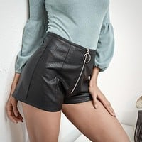 Women Simple Fashion Solid Color PU Leather Round Ring Zip Shorts