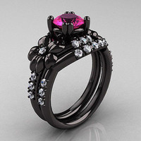 AMAZING 2.47CT PINK ROUND CUT 925 STERLING SILVER ENGAGEMENT AND WEDDING RING