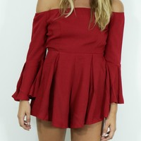 Te Amo Burgundy Romper With Choker Neck