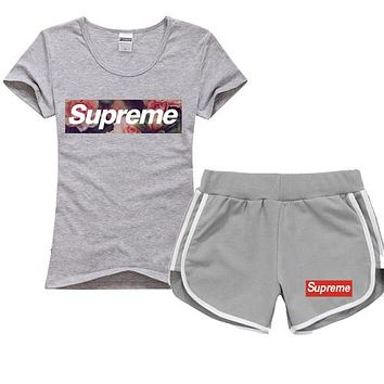 Trendsetter Supreme Women Men Casual Sport T-Shirt Top Tee Shorts Set Two-Piece