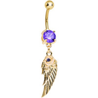 Purple Gem Gold Plated Angel Wing Dangle Belly Ring | Body Candy Body Jewelry