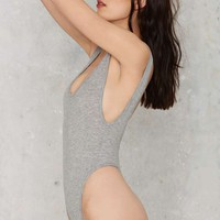 Nasty Gal Let's Get Physical Ribbed Bodysuit - Gray