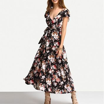 MIDNIGHT FLOWERS WRAP MAXI DRESS
