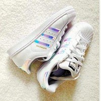 Adidas Fashion Reflective Shell-toe Flats Sneakers Sport Shoes Pink laser