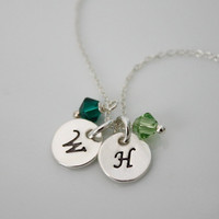 Sterling Silver Initial Necklace with Birth Stone