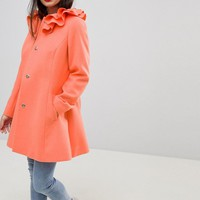 ASOS PETITE Ruffle Neck Skater Coat at asos.com