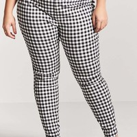 Plus Size Gingham Ankle Pants