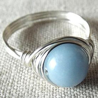Angelite Ring - Blue Stone Ring - Easter Jewelry - Cute Ring - Wire Wrapped Jewelry Handmade - Simple Ring - Gift for Best Friend