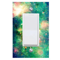 Space Light Switch Cover with Decal Deep Space Galaxy Room Decor LS20