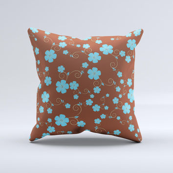 Brown and Blue Floral Layout ink-Fuzed Decorative Throw Pillow