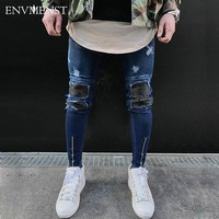 Envmenst Men's PU Leather Patchwork Ripped Skinny Stretch Jeans