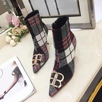 Burberry Women Fashion Pointed Toe Boots High Heels Shoes