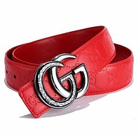 G GUCCI Fashion New GG Letter Buckle More Letter Leather Women Men Leisure Belt