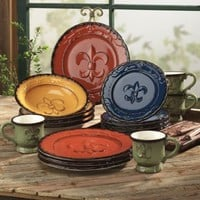 16 Pc Dinnerware Set Tableware Dishes Hand Painted Tuscany Fleur de Lis NEW