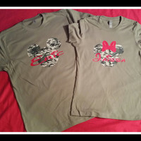 Two Camoflauge Disney Inspired Mickey and MInnie Custom Couples Tshirts Perfect For Disney Party Mickey and Minnie Couple Shirts