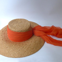 Vintage original 1970s wide brimmed straw beach hat with orange chiffon scarf