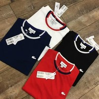 Lacoste Summer Popular Women Men Casual Contrast Color Short Sleeve Round Collar T-Shirt Top I-XMCP-YC