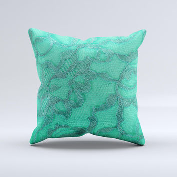 Bright Green Textile Lace Ink-Fuzed Decorative Throw Pillow