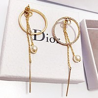 DIOR Trending Women Circular Diamond Pearl Tassel Earrings Jewelry Accessories