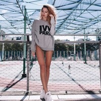 Trendy Ivy Park Beyonce The Same Styl Letter Design Women Hoodies 4Colour Kpop Casual Unisex Simple Comfortable Sweatshirts 4XL