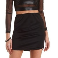Black Dolphin Hem Bodycon Mini Skirt by Charlotte Russe