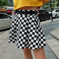High Waist Checkerboard Skirt