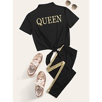SHEIN Letter Print Knot Hem Top and Contrast Sideseam Leggings Set