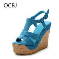 Candy Color Women's Sandals Small Size 32 33 Bohemian Shoes Thick Bottom Wedges Open Toe Sandals Ankle Strap Sandalia Gladiadora
