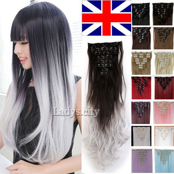 UK/US/CN 24 inch Full Head 8pcs 18clips Clip in on Hair Extensions Real Thick synthetic Curly Mega Hair Piece Gray Brown Purple