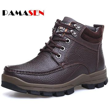 PAMASEN Size 38-48 Men Winter Keep Warm Boots High Quality Genuine Leather Wear Resisting Casual Shoes Working Fashion Men Boots