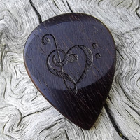 Handmade Brazilian Ebony Premium Guitar Pick - Laser Engraved - Actual Pick Shown - No Stock Photos - Treble & Bass Clef Heart