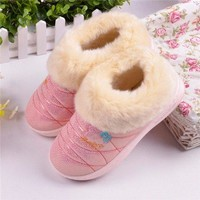 Warm Waterproof Floor Home Slipper Casual PU Soft House Slippers