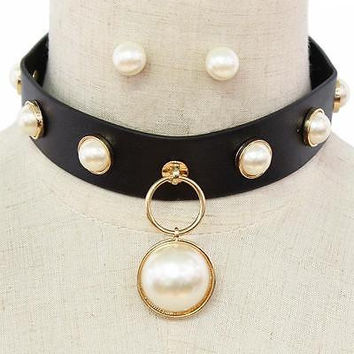 "16"" gold pearl collar bib choker necklace earrings faux leather basketball wives"