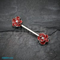 Classic Rose Sparkle Nipple Barbell Ring