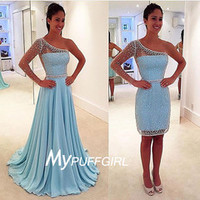 Light Blue One Shoulder Long Prom Dress With Sequined ,Beaded Sheer Back