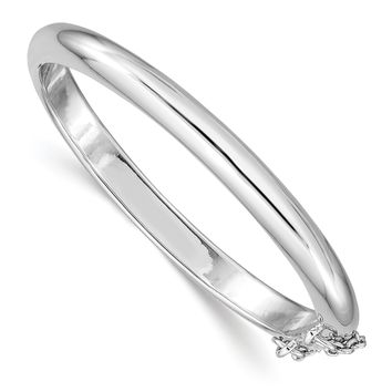 Sterling Silver Rhod. Plated Pol. w/Safety Hinged Child's Bangle QB776