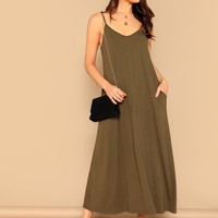 Pocket Patched Swing Cami Dress