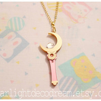 PRE ORDER Cosmic Crescent Moon Wand Sailor Moon Inspired Laser Cut Acrylic Necklace for Mahou Kei, Magical Girl Fashion