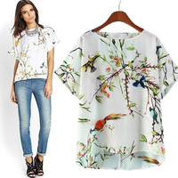 New Hot Fashion Womens Casual Blouse Short Foever21 Like Sleeve Shirt T shirt Summer Blouse Tops = 4721963524