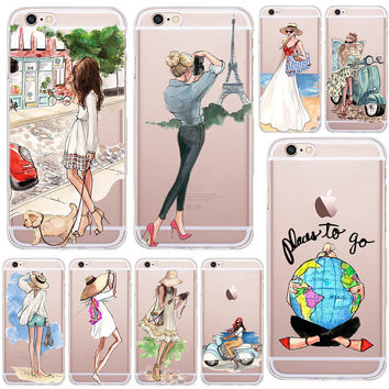 A Girl Summer Outing Travel Relax Beach Transparent Soft Silicone Cases For Apple iPhone 5 5S SE 6 6S Plus 7 Plus Phone Case
