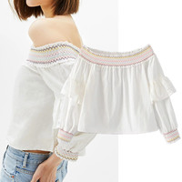Fashion Casual Off Shoulder Long Sleeve Embroidery Lace Shirt Tops