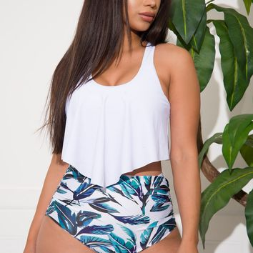 Laughing Seafront Two Piece Swimsuit White & Blue