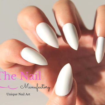 White Matte Fake Nails - Matte False Nails - Available as Pointy Stiletto Nails, Oval Nails, Square Nails - Handpainted Nails - High Quality