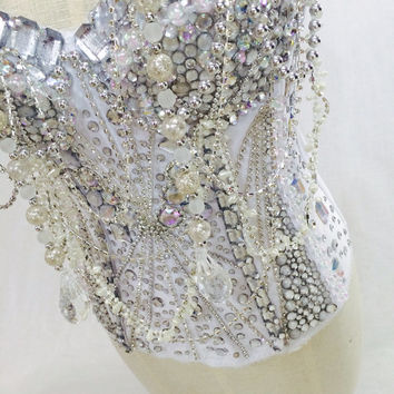 Partition corset Beyoncè inspired edc/ wedding/ performance/ bedazzled corset