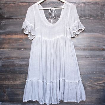 darling babydoll dress with ruffle hem - mocha