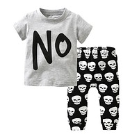 Baby boy or Girl Clothing set cotton letters NO T-shirt+Skull Pants