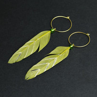 Chevron earring Olive green earring Feather jewelry Gold hoops Green feather Ethnic jewelry Tribal earring Summer jewelry Chevron