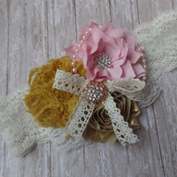 BABY HEADBAND, toddler, girl, penny, sassy, mustard yellow, pink, gold, silk, m2m, made to match, shabby,chic, well dressed wolf, photo ooak