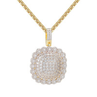 """Iced Out Custom Medallion Circle Solitaire 14kGold Finish Hip Hop Pendant with 24"""" Box Chain"""